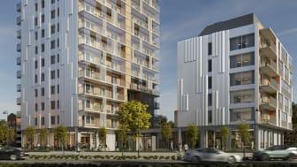 I kvarteret Hulte kommer det att byggas 90 lägenheter i två hus som binds samman av ett entréplan.
