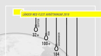 De länder som avrättat flest människor under 2019.