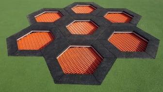 Trampolinkombination av hexagoner
