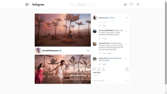 A screenshot of Indian actress Lisa Ray's Instagram post pointing out the similarities between the movie's poster and an artist's work