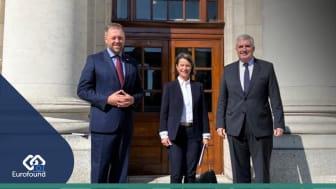 Left to right: Thomas Byrne T.D., Maria Jepsen, and Ivailo Kalfin. Photo © Eurofound 2021, Mary McCaughey