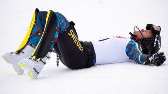 Anna Swenn Larsson bröt fotleden under träning i Italien och nu väntar sex veckor i gips. Foto: SSF
