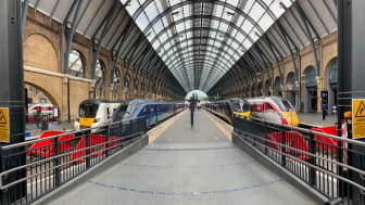 KX trains on the new platforms