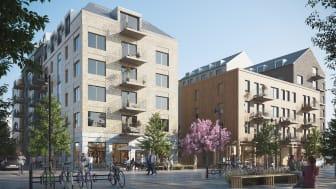 Liljewalls förslag på bostäder i GoCo Health Innovation City för Balder. Illustration: Liljewall