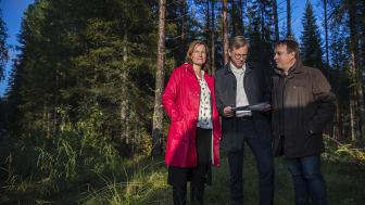 Kommunchefen Kristina Sundin Jonsson, närings- och innovationsminister Mikael Damberg och kommunalrådet Lorents Burman (S), mitt i skogen på den plats som Skellefteå erbjuder som etableringsmöjlighet för Northvolts batterifabrik.