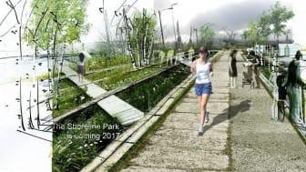 Ett sextiotal studerande och föreningsaktiva inom trädgård/landskap/arkitektur kommer att vara med och skapa den framväxande Jubileumsparken i Frihamnen. Illustration: Jubileumsparken.