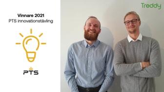 Jacob Lundberg och Emil Svensson vinner 1.5 miljoner i PTS innovationstävling.