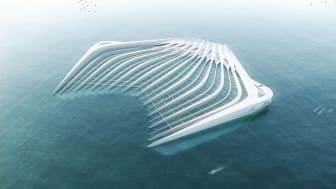 Designet af den flydende platform gør det muligt at fjerne plastikpartikler fra vandet inden det skader det skrøbelige økosystem i hav og floder.