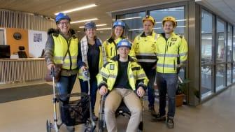 Klare for tilgjengelighetstest. På bildet: Tanja Hanssen (Bydel Grorud), Merethe Hagnæss (Bydel Grorud), Silje Lassesen (Boligbygg), Willy Larsen (AF Byggfornyelse), Georgios Skouroliakos (AF Byggfornyelse) og Henrik Tune (ÅF Advansia).