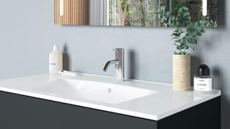 Laadukkaat ja tyylikkäät IDO Elegant -sarjan pesualtaat ovat suosittu valinta – altaan voi bongata myös Tuusulan Asuntomessuilta.