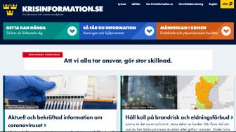Krisinformation.se har Sveriges bästa myndighetssida på Facebook, enligt Kommunikationsanalys.se. Här ses en bild på webbplatsens startsida.