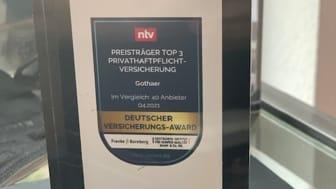 Deutscher Versicherungs-Award 2021 goes to… Privat-, Tierhalterhaftpflicht und Krankenzusatz-Versicherung der Gothaer gewinnen Award