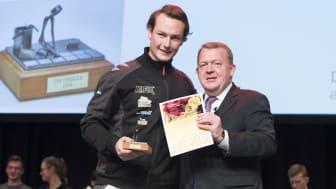 Danmarks bedste flisemurer 2018, Samuel Birk Axelsen fra Lund & Staun A/S. Foto: Per Daugaard/SkillsDenmark