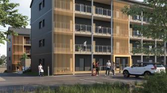 3D-illustration av BoKloks kommande bostadsrättsprojekt vid Gävletravet i Gävle.