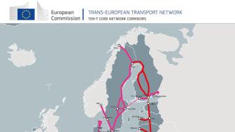 Den transeuropeiska transportkorridoren ScanMed efter beslutet i Europaparlamentet (rosa på kartan). Källa: Europeiska kommissionen.