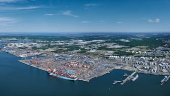 Container volumes remained high through 2020 at the Port of Gothenburg. Photo: Gothenburg Port Authority.