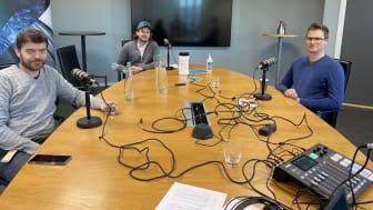 Innspilling av podcast om smittevern i blant annet Hausmanns hus. Fra venstre: Arne Pihl Bordi, Martin Almerud og Jostein Wall. (Foto: Norconsult)