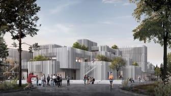 Visualisering af H.C. Ørsted Gymnasiet, lavet af KANT Arkitekter.