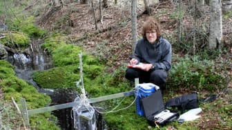 Marcus Klaus mäter koldioxidutsläpp från en skogsbäck. Foto: