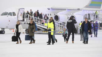 First passangers at Scandinavian Mountains Airport dec 22 th 2019