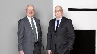 Sture Kullman, avgående ordförande och Per Ununger ny ordförande i  MVB Holding