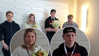 Gruppbild från vänster: Jonas Buska lärare på VVS-utbildningen på Utbildning Nord, Karolina Bucht,  Markus Modig samt Krister Björk, lärare på elektrikerutbildningen.