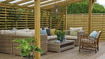 Utesesongen 2021 innbyr til hygge og glede på både stor terrasse og liten balkong.