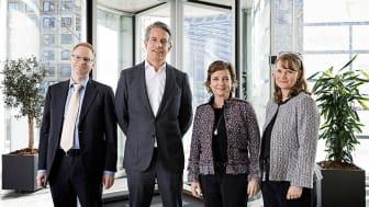 Nestlé Danmark har på tre år opnået at have lige så mange kvinder som mænd på alle lederniveauer. Fra h. er det HR-direktør Mikala Larsen, Ligestillingsminister Karen Ellemann, Nordisk chef Michiel Kernkamp og Martin Broberg. (Foto: Søren Svendsen)