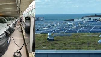 Solcellerna på garagets tak laddar Sundsfastigheters åtta elbilar.