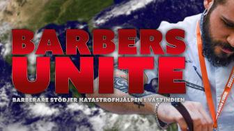 Barberare från Stockholm trimmar skägg/klipper hår till förmån för katastrofhjälpen i Västindien