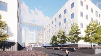 Ahveniston sairaala - Ahvenistontien sisäänkäynti. Havainnekuva: Integrated Työyhteenliittymä