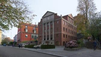 Den nya byggnaden med joniska pilastrar och rustik stil ska smälta in i den 100-åriga miljön i klassiska Lorensbergs Villastad. Illustration: TMRW/TB-Gruppen
