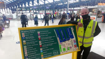 £700,000 has been invested to improve accessibility at 33 stations (see ed's notes for full list). Brighton and other stations in Sussex have new tactile maps with raised symbols and lettering for people who are blind or partially sighted
