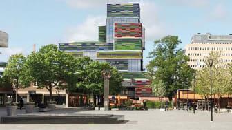Nomors nya kontor ligger i den nybyggda, färgstarka kontorsfastigheten Färgskrapan i Sollentuna. (Illustration: On Arkitekter AB)