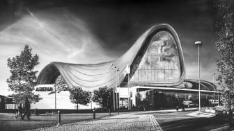 I utställningen Iconic/Ironic places mixas bilder av Skövdes mest ikoniska platser med den globala arkitekturen. Bild: Gustaf Elias