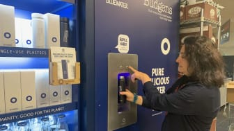 The Thornton's Budgens supermarket in north London is now serving pure water on demand from a Bluewater dispenser to shoppers who want to avoid single-use plastic water bottles.