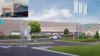 Till vänster i bild gamla Eurostop Köpcentrum som det såg ut 1998. Till höger visionsbild av nya mötesdestinationen Scandinavian XPO.