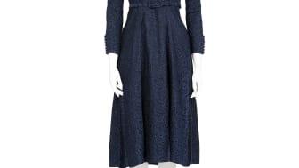 Irma von Geijers klänning i blåmönstrat siden 1940-tal