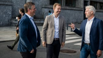 From left: Fredrik Logenius (CEO Optidev), Marius Drefvelin (CFO Techstep), Jens Haviken (CEO Techstep). Photographer: Marthe Haarstad.