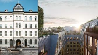 Fasaden vil være uendret, mens bakgård og tak skal oppgraderes i Dronningens gate 13, som er pilotprosjekt for nye BREEAM-NOR 3.0. Foto: Selvaag Eiendom, Oslo Works/Tegmark