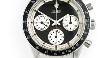 "Rolex: Model Daytona Cosmograph ""Paul Newman"". Estimate: DKK 1 million."