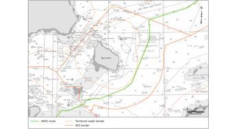 Figur: Kort over Nord Stream 2 ruteføring over dansk kontinentalsokkel. Kilde: Nord Stream 2 AG.