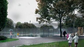 Arbetet med att skyfallsanpassa Söderkullaparken är klart; detta innebär att det nu finns sänkta ytor där vatten kan samlas vid eventuella skyfall.