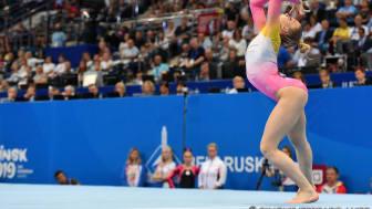 Jessica Castles bronsmedaljör i fristående på Europeiska Spelen i artistisk gymnastik, Minsk. Foto: Simone Ferraro / UEG.