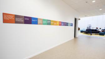 """Konstverket """"Det var en gång…"""" av Eva Beierheimer i nybyggda Kärlekens skola, Halmstad"""