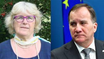 Karin Fridell Anter, föreningen Stöttepelaren, och Stefan Löfven, statsminister (s)