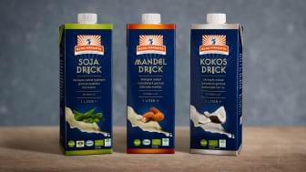 Kung Markattas nya ekologiska växtbaserade drycker: Sojadryck, Mandeldryck och Kokosdryck