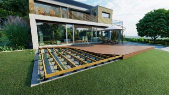Terrassen är ett skandinavernas favoritbyggnadsprojekt. Fast det kan vara svårt att konstruera en gör-det-själv-terrass som blir ordentlig och jämn. Men så behöver det inte alls vara, säger Knudsen Kilen. Foto: Knudsen Kilen.