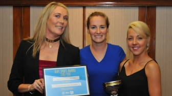 Guest of honour Claire Cashmore (centre) presents the Community Club of the Year award to Liz Norris and Natalie Berry of Street Shakers Dance and Fitness.