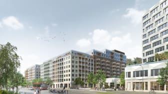 Södra Hagalund_Vy från Solnavägen vid nytt torg och nya bostäder_BSK Arkitekter